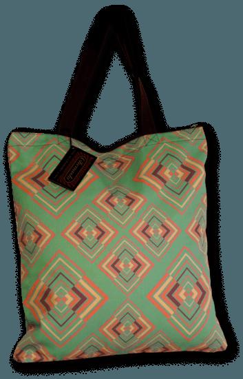 Handtas retro print Rhombus groen roze