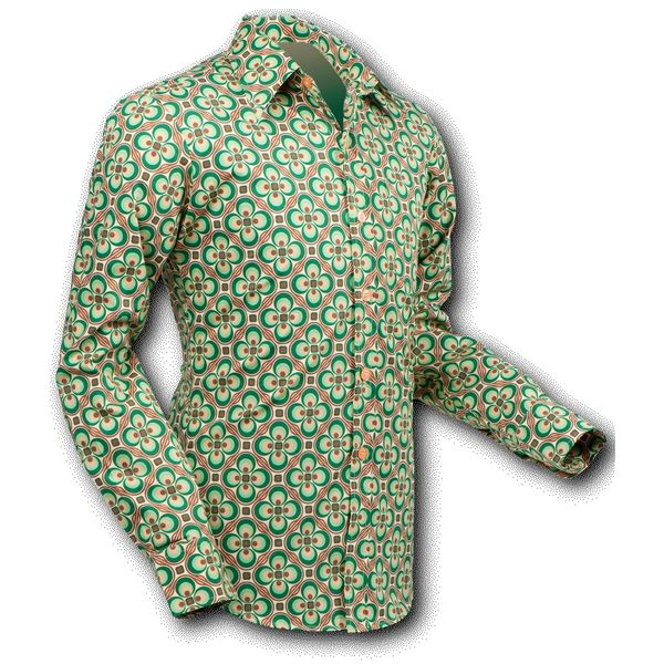 Chenaski   overhemd Seventies Dotsgrid Crème Green