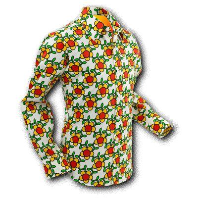 Chenaski | Overhemd Seventies Flowergrid Creme
