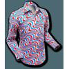 Afbeelding van Chenaski | overhemd Seventies Wavyline Grey Petrol Red