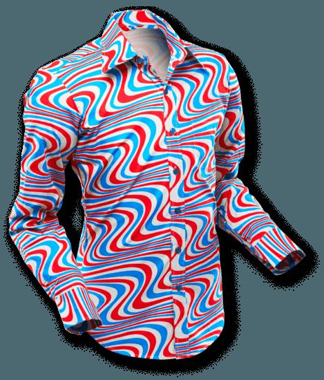 Chenaski | overhemd Seventies Wavyline Grey Petrol Red