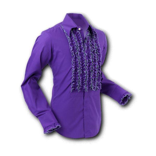 Chenaski | Overhemd ruche, dark violet grey trim