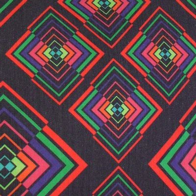 Foto van Handtas retro print Rhombus Black Multicolour