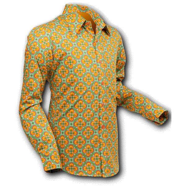 Chenaski | overhemd Seventies Dotsgrid Light Green Orange