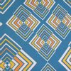 Afbeelding van Handtas retro print Rhombus blauw geel