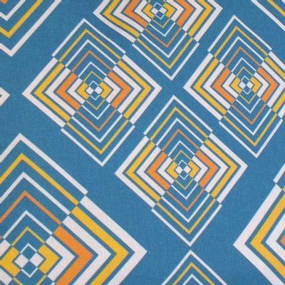 Foto van Handtas retro print Rhombus blauw geel