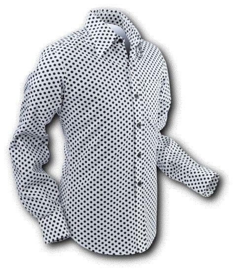 Chenaski | overhemd Seventies Polka Dots White Black