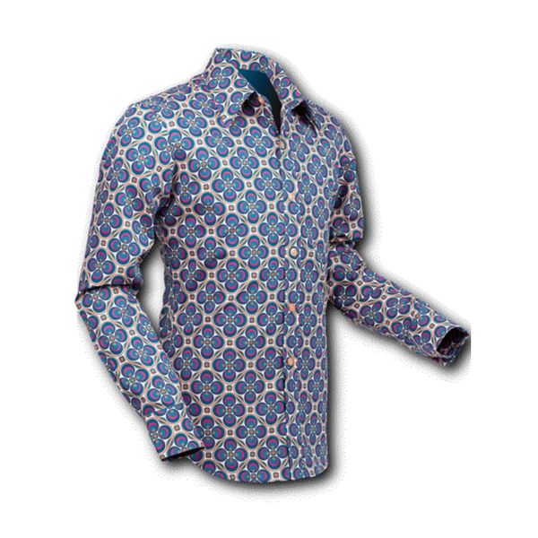 Chenaski | overhemd Seventies Dotsgrid Creme Petrol