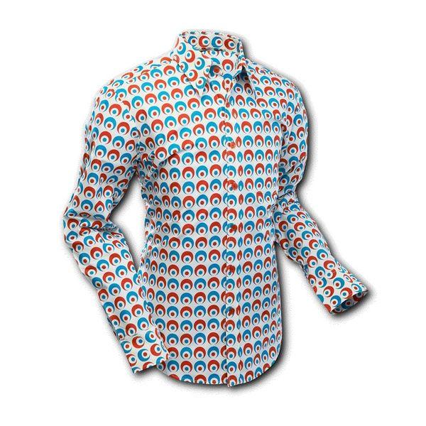Chenaski   overhemd Seventies Retro Eyeball Creme Blauw Rood