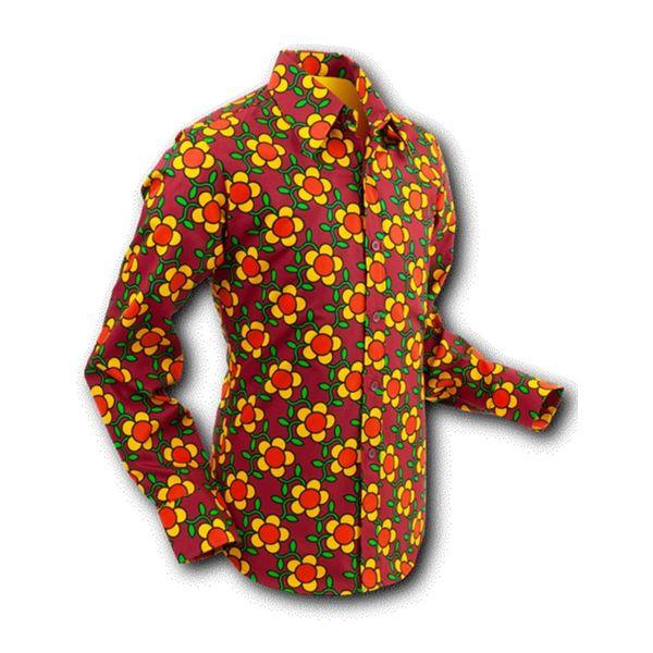 Chenaski | overhemd Seventies Flowergrid Bruin