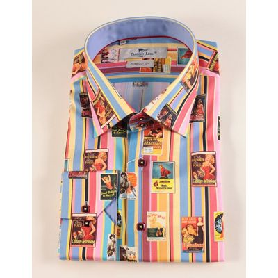 Foto van Overhemd Jaren 40 Film print op Pastel streep