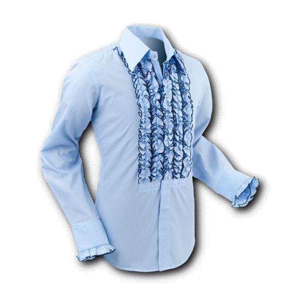 Chenaski | Overhemd ruche light blue-navy trim