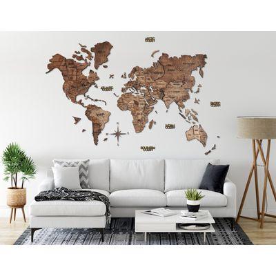 Afbeelding van 3D Wood World Map Full L Walnut