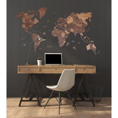 Afbeelding van 3D Wood World Map Full L OAK