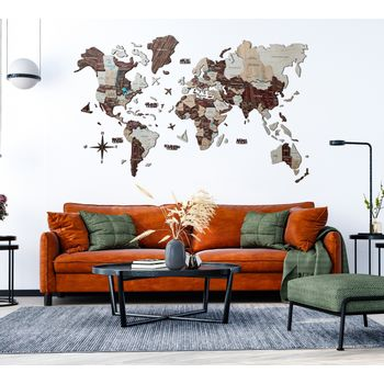 Foto van 3D Wood World Map L Cappuccino