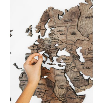 Afbeelding van 3D Wood World Map Full XL Walnut