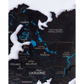 Foto van 2D Wood World Map Full L Black