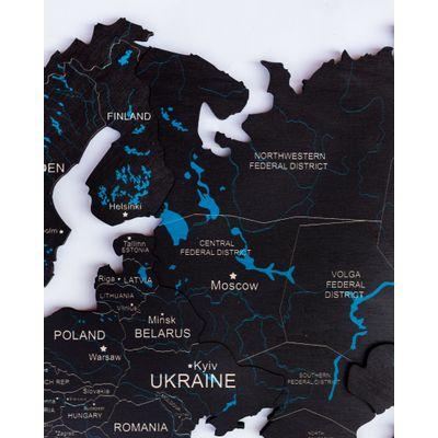 Afbeelding van 2D Wood World Map Full L Black