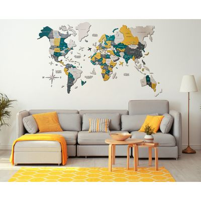 Afbeelding van 3D Wood World Map L Country