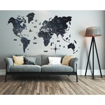 Foto van 2D Wood World Map Full XL Black