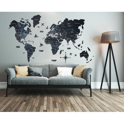 Afbeelding van 2D Wood World Map Full XL Black