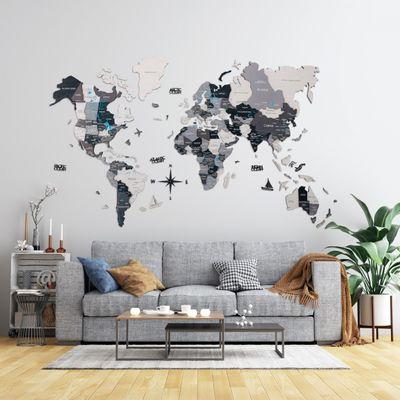 Afbeelding van 3D Wood World Map Full XL Grey