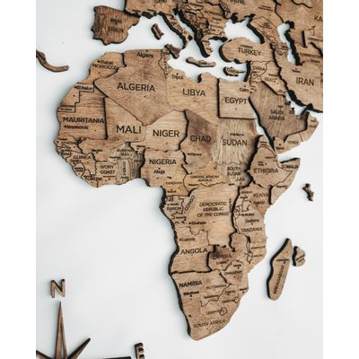 Afbeelding van 3D Wood World Map Full XL Walnut