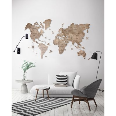 Afbeelding van 2D Wood World Map Full L Terra