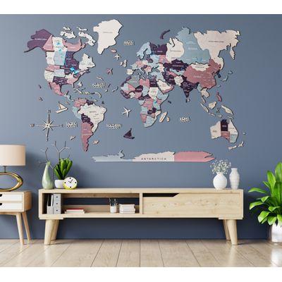 Afbeelding van 3D Wood World Map L Berry