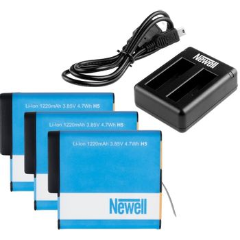 Foto van Newell Triple Battery Duo Charger Pack voor GoPro HERO5/6/7 Black en HERO 2018