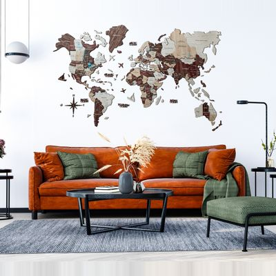 Afbeelding van 3D Wood World Map XL Cappuccino