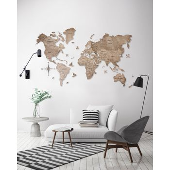 Foto van 2D Wood World Map Full XL Terra