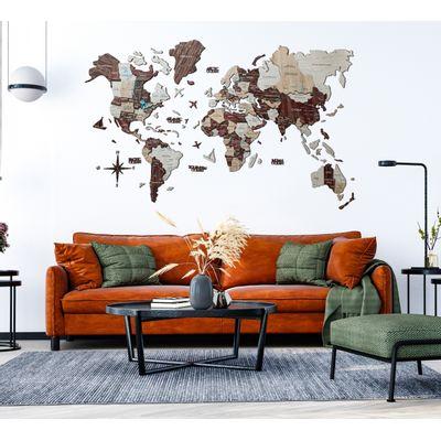 Afbeelding van 3D Wood World Map M Cappuccino