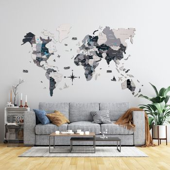 Foto van 3D Wood World Map Full L Grey