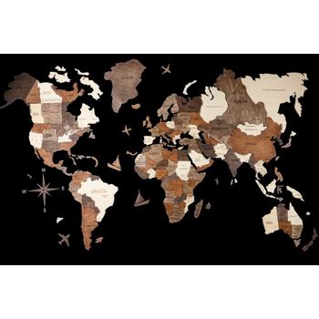 Foto van 3D Wood World Map Full XL OAK