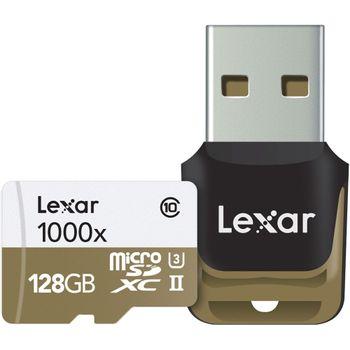 Foto van Lexar Professional 128GB microSD 1000x UHS-II U3 150MB/s met USB Reader