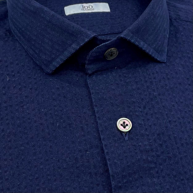 Foto van 100 Hands Seersucker Shirt Dark Blue