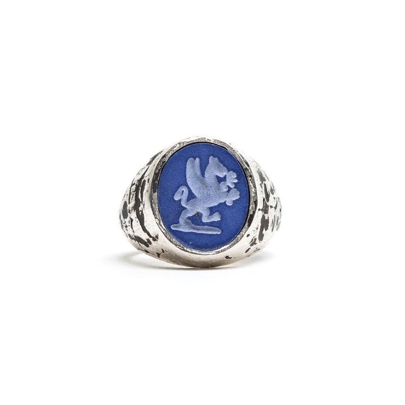 Damico Zegel Ring Blauw Zilver