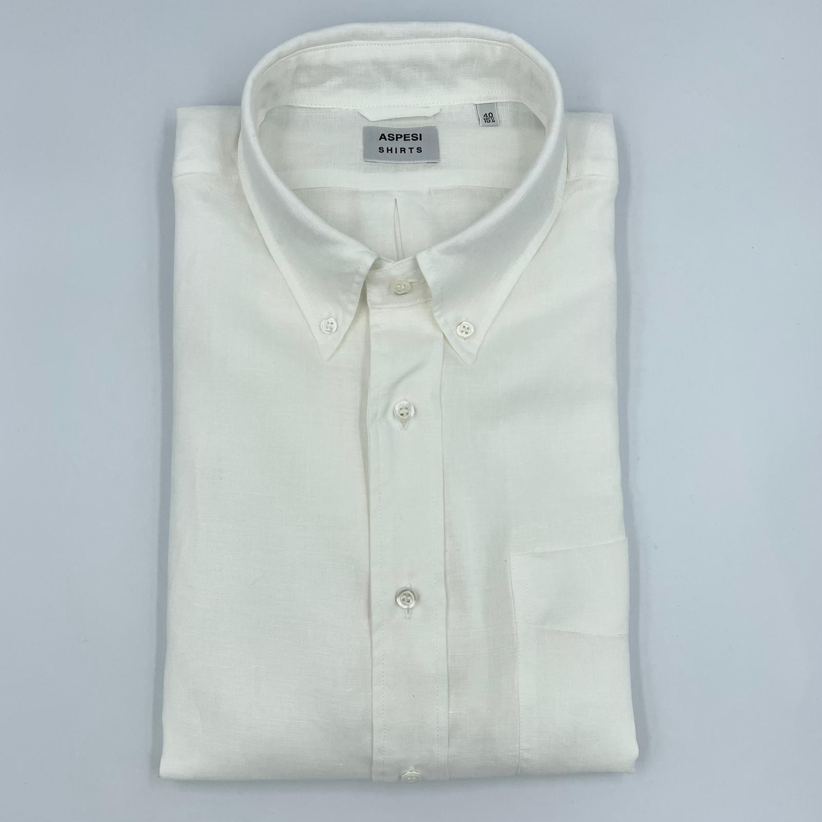 ASPESI Linnen Shirt B.D.Magra White