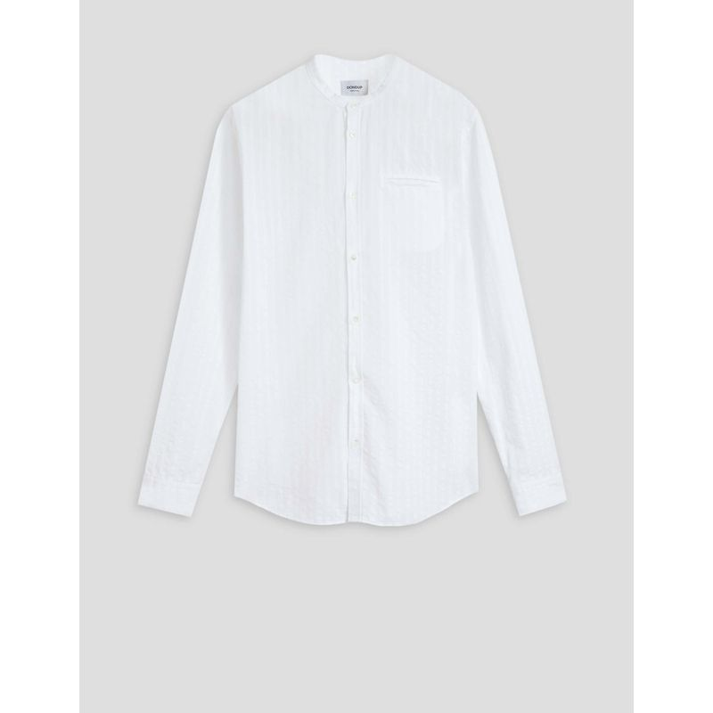Dondup Striped cotton shirt with mandarin collar