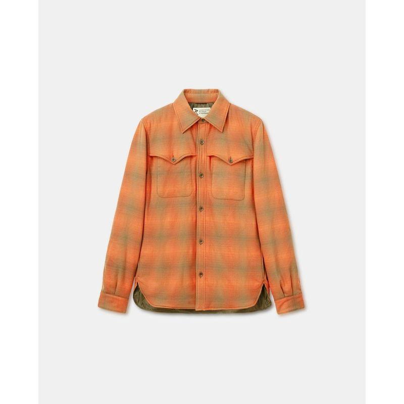Aspesi Shirt Wool Flannel Check Orange