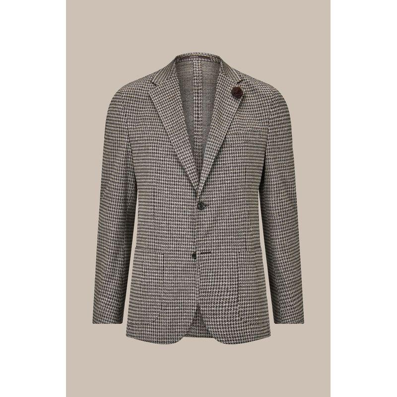 Windsor Giro Jersey Jacket with Linen in Brown-Beige