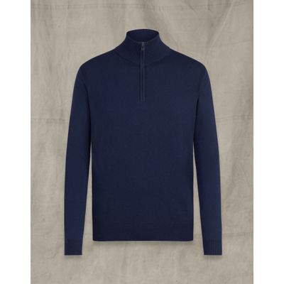 Foto van Belstaff Bay Half Zip Jumper Deep Navy Cotton/Silk Blend